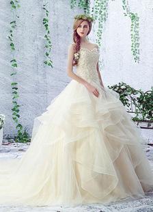 Vestido de noiva champanhe Lace querida Rhinestones sem mangas rendas frisado até vestido de noiva de trem da capela