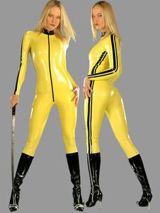 Disfraz Carnaval Catsuits Amarillo Sexy Ninja Pvc Para Mujer De Halloween Carnaval