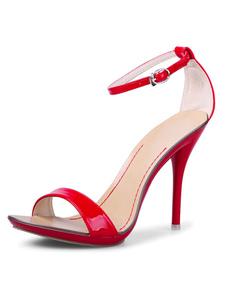Sandálias 2020 de salto alto Sandálias de dedo aberto das mulheres vermelhas com tira no tornozelo
