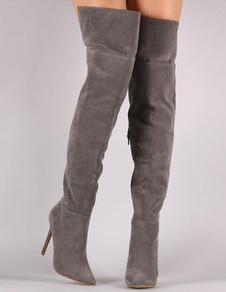 Botas altas sobre joelho salto alto de inverno feminina dedo apontado com Zipper