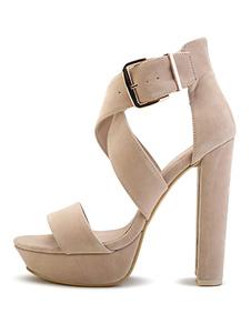 Платформы высокие каблуки Крисс крест замши коренастый пятки пряжки сандалии для женщин
