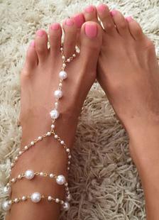 Sapatos de casamento da Boêmia branco pérolas tornozeleiras em camadas