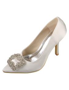 Scarpe da sposa avorio scarpe da sposa tacco alto punta in raso con strass Slip-on