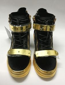 Sapatos de couro Skate zíper preto renda masculina acima do dedo do pé redondo Casual sapatos com detalhes de Metal