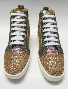 Scarpe Skate oro paillettes pizzo piatto maschile punta tonda Glitter Scarpe Casual