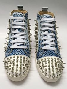 Sapatos de Skate azul Spike sapatos apartamento dois tons masculino rodada do laço Toe sapatos casuais