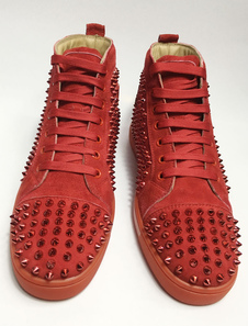 Red Skate Shoes 2020 Men Spike Shoes Sneakers alte in pelle scamosciata con punta rotonda e camoscio