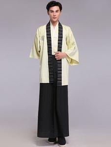 Roupa do traje de fãs borlas listrado Samurai Halloween quimono traje masculino