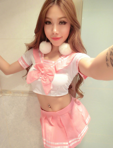a46c1ee50 Halloween Sexy School Girl Costumes Short Sleeve Bowed Crop Top ...