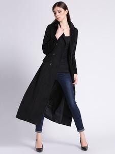 Женщин длинное пальто черный двойной грудью отложным воротником тонкий Fit пальто