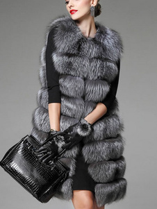 Искусственный мех пальто женщин серая жемчужина рукавов слоистых длинный зимний жилет