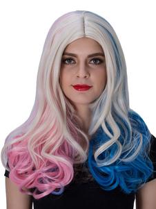Carnevale Parrucche Suicide Squad Harley Quinn Cosplay parrucca ricci lunghi rosso blu centro femminile capelli parrucche di divisione