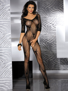 Sexy Lingerie nera Crotchless Sheer Stretch Bodystocking per le donne