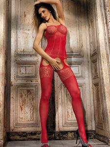 Rosso Sexy Bodystocking Nylon tagliato Calze Lingerie allungato femminile