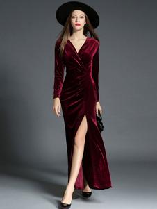 Vestiti Lunghi Bordeaux Abiti Lunghi maniche lunghe vestito di velluto velo Vestiti Lunghi Eleganti monocolore con spacco a pieghe con scollo a V