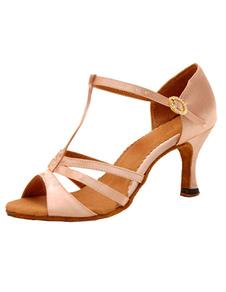 T ремень бальные туфли высокий каблук вырезают сандалии женщин атлас заглянуть ног танцевальной обуви