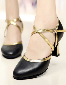 Женские кожаные бальные туфли круглый мыс Flared пятки два тона танцевальной обуви с крест-накрест ремень