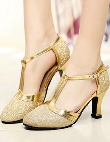 Золотые бальные туфли с блестками и круглым носком T Тип винтажной обуви Обувь для танцев сальсы