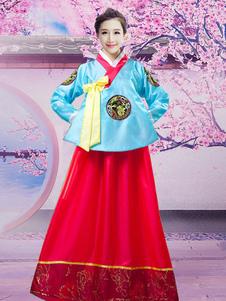 هالوين زي الكورية التقليدية للمرأة الحرير الهانبوك الرقص اللباس
