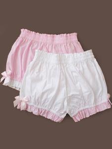 Pantalones cortos de 100% algodón color liso con volante fruncido estilo dulce