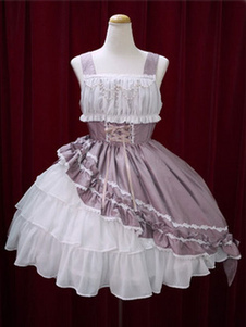 Sweet Lolita Dress JSK Algodão Lace Bow Ruffled Layered Lolita Jumper Skirt�