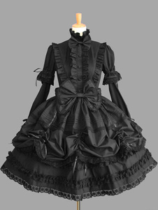 Lolita doce vestido preto OP gola alta Puff manga longa algodão renda babados arco vestido de uma peça de Lolita