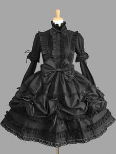 Vestido de Lolita de algodón con escote alto con manga larga de dos tonos de encaje