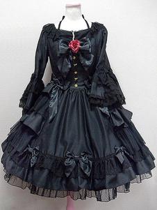 Vestido Lolita clássico OP Alice Black Hime Manga comprida Lace Ruffled Bow Button Lolita Vestido de uma peça com flores vermelhas