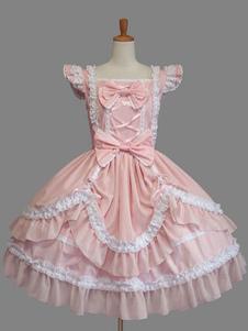 Lolita doce vestido rosa de algodão Bow Lace Cap Lolita manga peça um vestido de babados