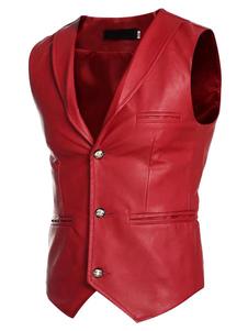 Красный мужской жилет PU v-образным вырезом кнопки передней тощий жакет без рукавов с поддельными карманами