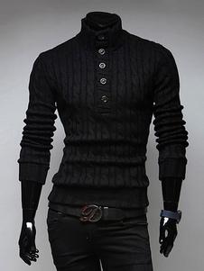 Pullover casual cotone misto con collo alto maniche lunghe per le vacanze