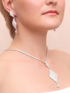 Свадебные украшения устанавливает Серебряный горный хрусталь серьги для новобрачных Кулон с шарм ожерелье
