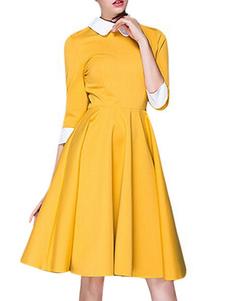 Vestiti Anni 50 bicolore Abiti donna maniche a 3/4 abiti anni 50 Giallo a pieghe con colletto di poliestere lungo fino al ginocchio Autunno