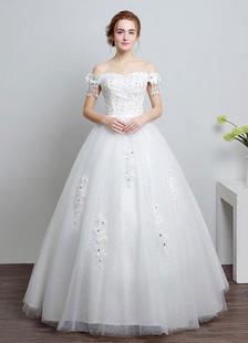 Слоновой кости свадебное платье с плеча бальное платье кружева бисером этаж Длина свадебное платье с горный хрусталь