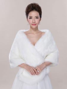 Casamento marfim Wrap peles artificiais sem mangas aberto frente nupcial xaile
