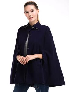 Mulheres de casaco Poncho lã é plissada Casual curto tamanho grande Poncho casaco de cabo