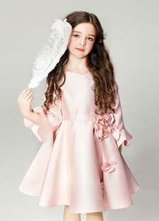 Blush vestido de niña de las flores de color rosa manga de campana flores cuello redondo con cremallera acampanada vestido de desfile para niñas