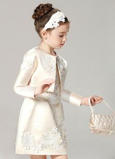 Vestido de Menina das Flores Champagne Outfit A Line Flower Applique Beaded Comprimento do joelho Com estilo Dress With Jacket