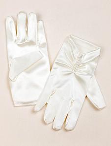 Атласный цветок девушка Перчатки цвета слоновой кости плиссированная жемчужина бисером кончики пальцев партии перчатки свадьбы