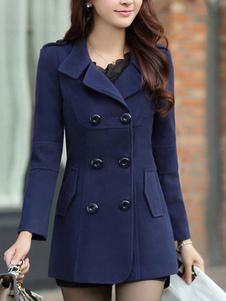 Cappotto Invernale da Donna 2020 in Lana a Doppio Petto con Collo a Rovescio a Maniche Lunghe Blu Scuro