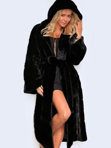 Черные пальто из искусственного меха с капюшоном женщин негабаритных длинные теплые зимние пальто