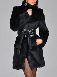 فو الفراء معطف المرأة أسود طويل الأكمام الشتاء معطف وشاح مستبعدة