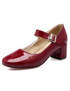 Mary Jane scarpe punta quadrata tinta unita Decollete Tacco donna