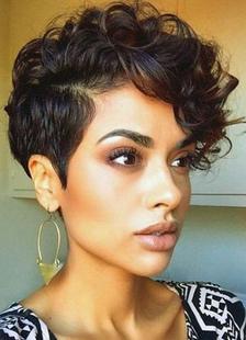 Афро-американский парик Tousled синтетический короткий вьющийся парик для черных дам