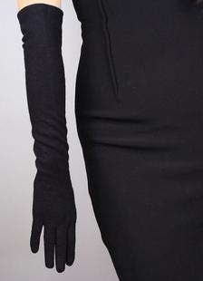 Casamento preto cotovelo comprimento longo luva estilo Vintage Cashmere Fingertips Inverno luvas para noiva
