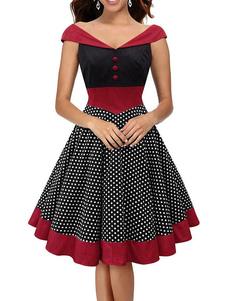 Vestiti Anni 50 con stampe Abiti donna smanicato abiti anni 50 Nero  bottoni in pelle con scollo a V Cotone misto Estate abito alla moda