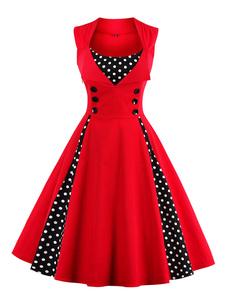 Vestido vintage de algodón mezclado rojo con escote cuadrado sin mangas con estampado con botones de moda
