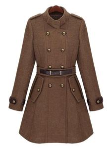 Doppio petto giacca fibbia Stand collare Flare Peacoat di donne militari trench