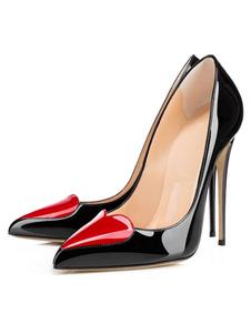 Salto alto preto de bombas apontou Toe slip-on Stiletto sapatos para mulheres