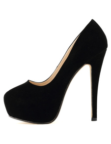 Women's Black Platform Heels 2020 Stiletto Heel Round Toe Slip On Pumps Heeled Shoes